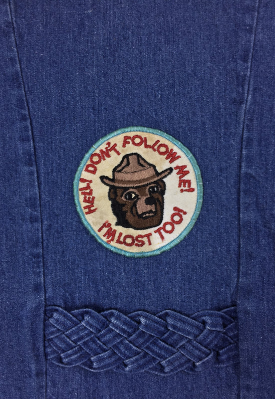 Vintage 70's Smokey the Bear Don't Follow Me I'm Lost Too Patch Braided Denim Vest