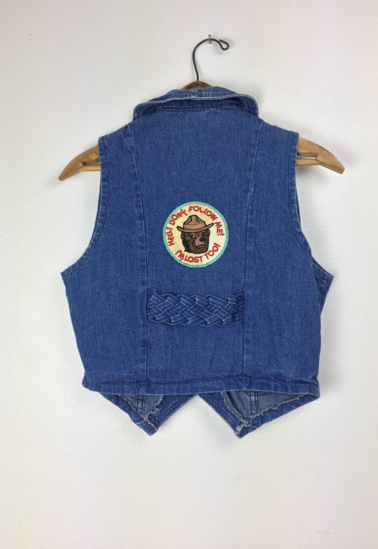 Vintage 1970's Smokey the Bear Don't Follow Me I'm Lost Too Braided Denim Vest
