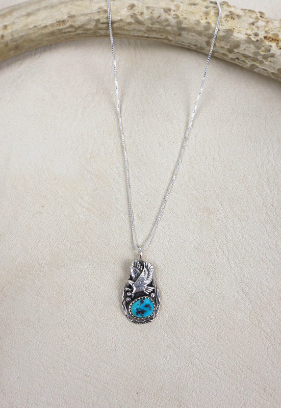 Vintage Sweet Native American Eagle Turquoise Sterling Silver Biker Necklace