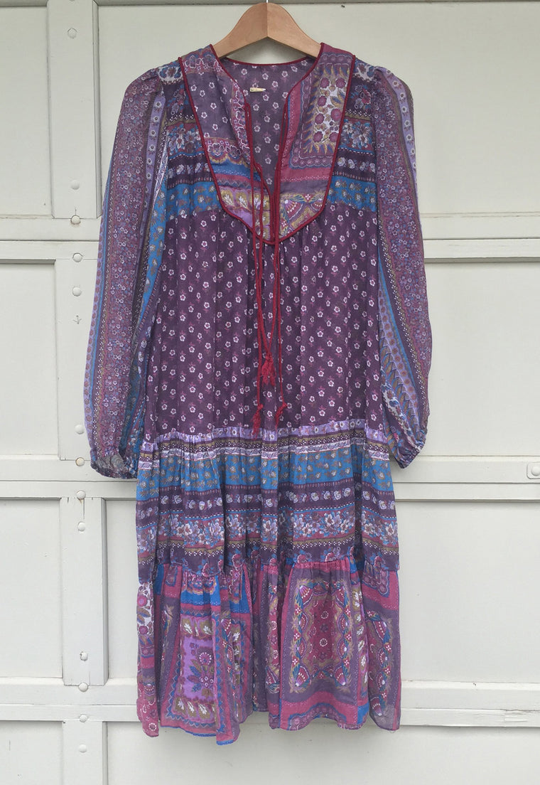 1970's Eggplant, Indian Dress with Poet Sleeves