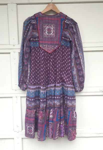 1970's Eggplant, India Cotton, Gauze Dress with Poet Sleeves