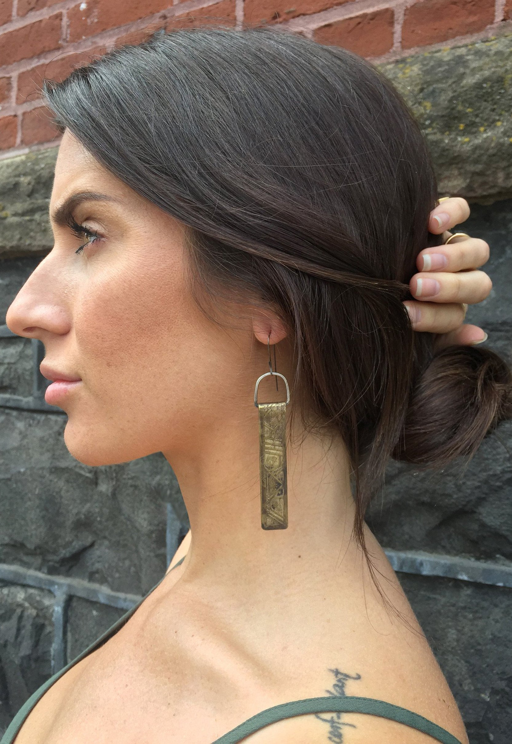 Acid Etched 'Geo Pillar' Earrings