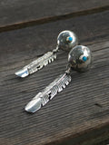 Feather Concho Turquoise Signed Earrings