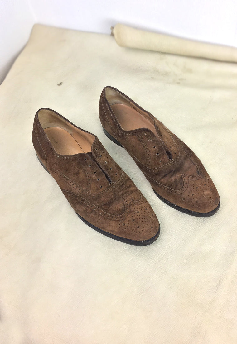 Vintage Perfectly Thrashed Tobacco Suede Ferragamo Laceless Oxfords 9