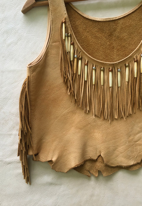 Vintage Buttery Soft Leather Native American Fringe Buckskin Top