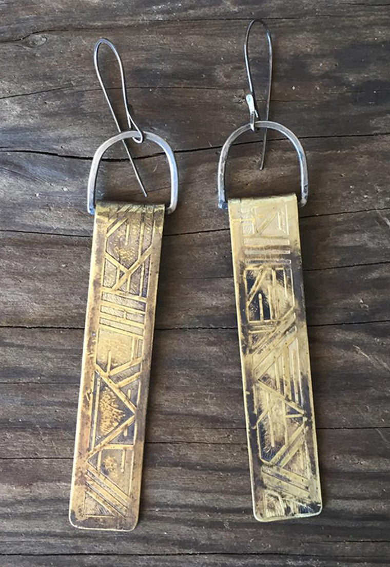Serpentine and Fair Etched Brass Pillar Earrings Idylwild