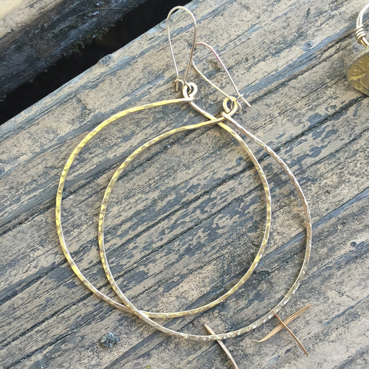 Oversized 14K Gold-fill Hammered Hoops