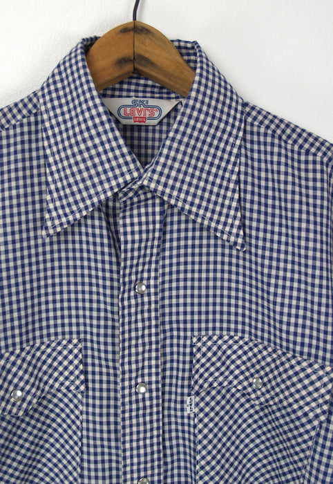 Vintage Levi's, Navy Blue Gingham Pearl Snap Shirt L