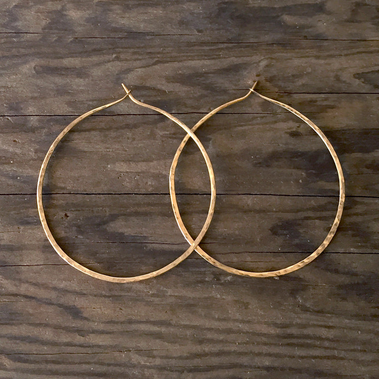 Simple 14K Gold-fill Hammered Hoops