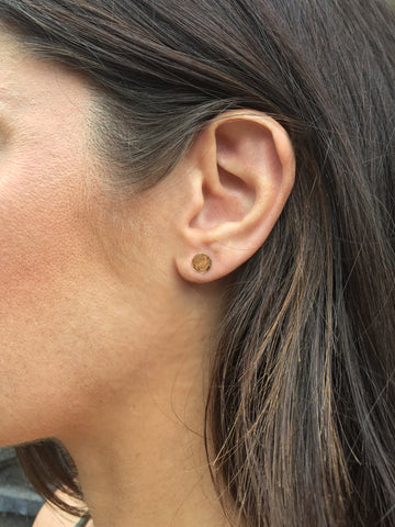 14K Gold-fill Hammered Stud Earrings