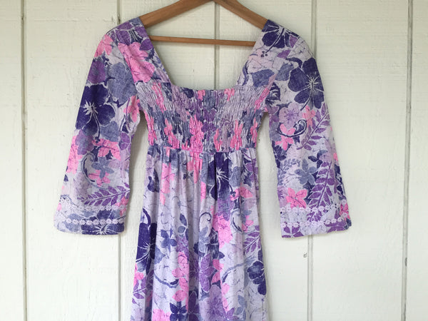 1960's / 70's Smocked Bell Sleeve Hawaiian Print Maxi Dress
