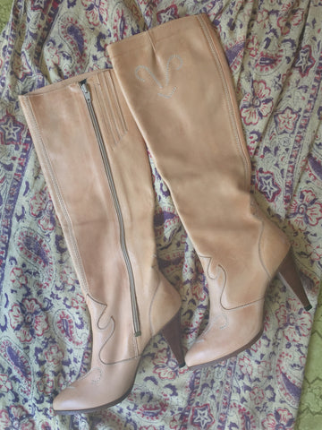 Tan Knee High Cowboy Boots Size 8M