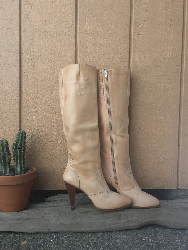 Blonde Knee High Cowboy Boots Size 8M
