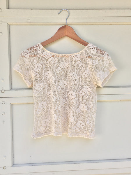 Sheer Lace Cap Sleeve Top with Buttons at Back