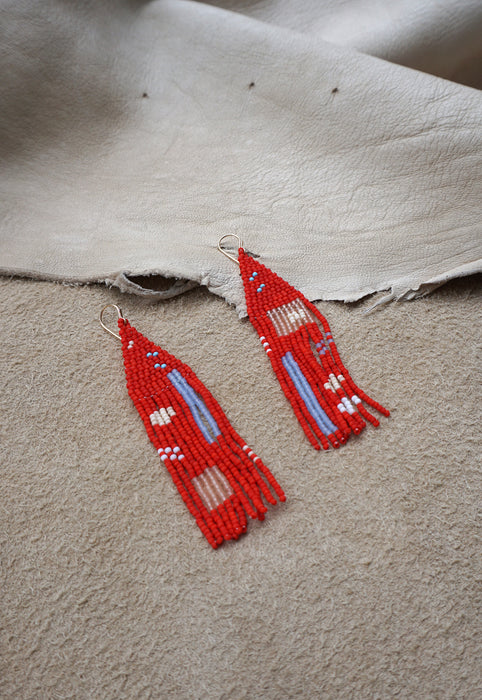 Bribol Beaded Statement Earrings Native American Inspired Modern Art Earrings