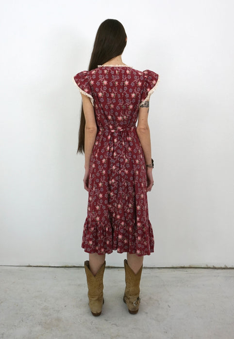Vintage 70's Maroon Country Prairie Summer Dress