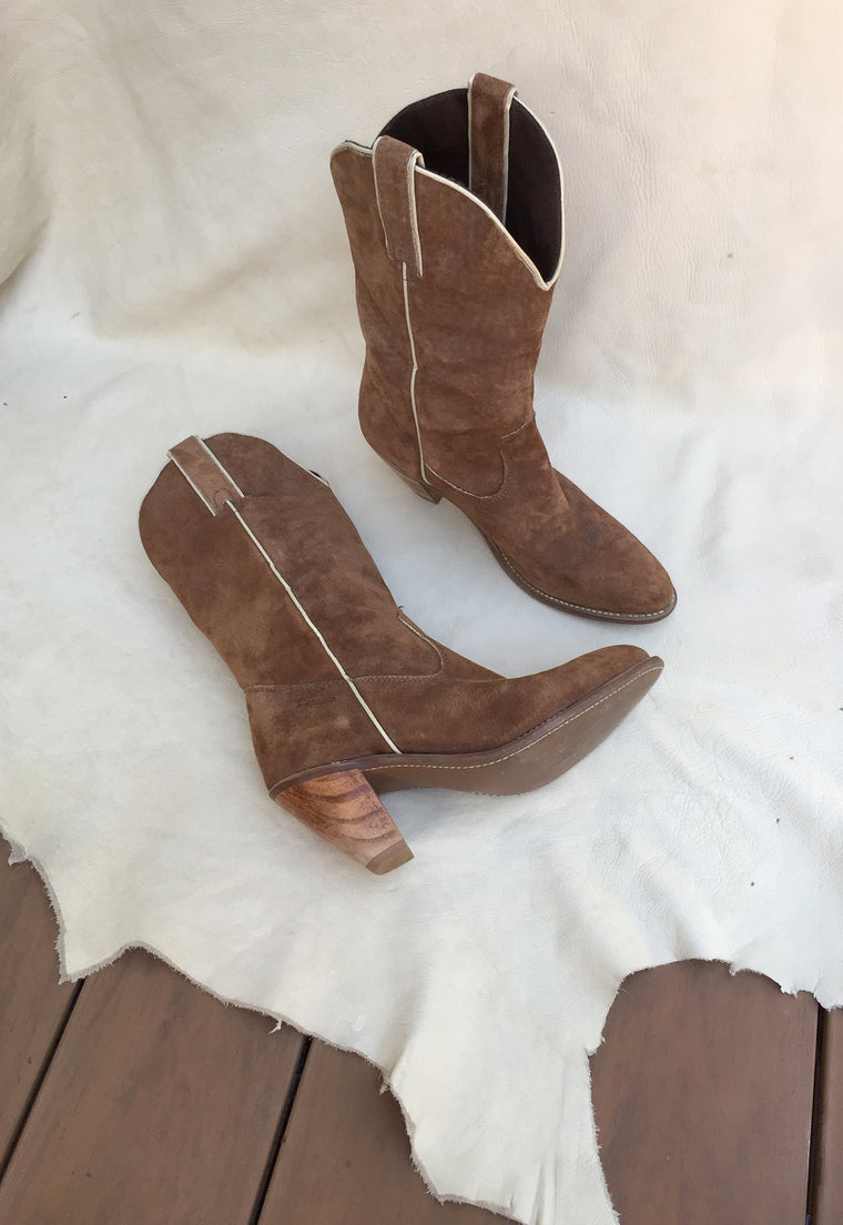 70's Ash Brown Suede Stacked Heel Capezio Cowboy Boots Size 8.5M