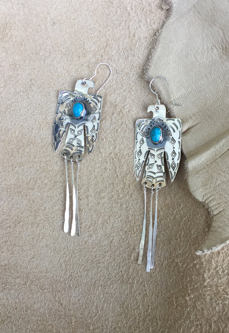 Mountain Turquoise Thunderbird Fine Earrings