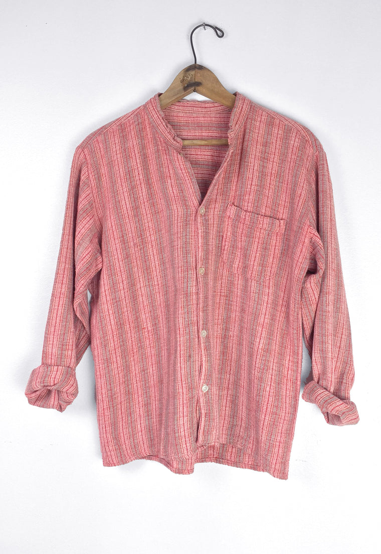 Dusty Rose 1970's Nepalese Nehru Collar Gauze Shirt