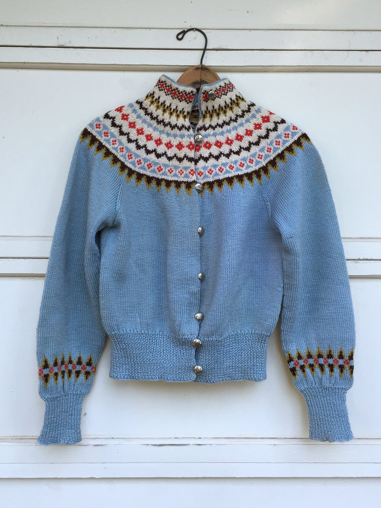 1950's Hand Knit, Nordic, Fair Isle Wool Sweater with Metal Buttons