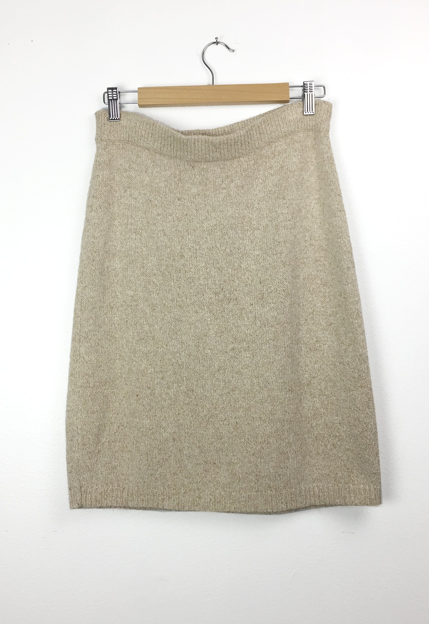 Vintage Oatmeal Silk Angora Sweater Skirt