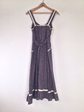 70's Perfect Navy Prairie Dress