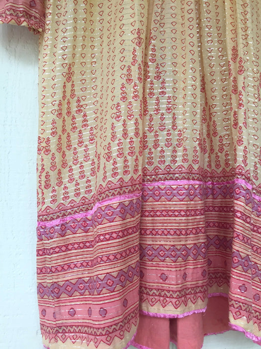 India Cotton Gauze Lurex Stripe 1970s Hippie Dress