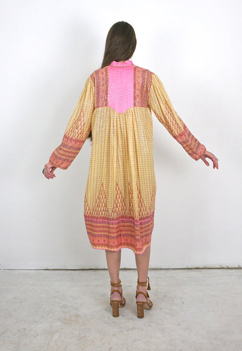 India Cotton Gauze Lurex Stripe 1970s Hippie Vintage Dress