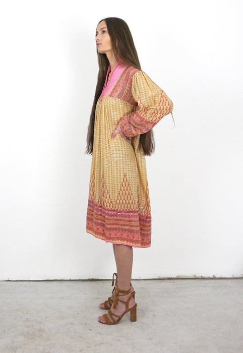 Idylwild Vintage Indian Cotton Gauze Lurex Stripe 1970s Hippie Vintage Dress