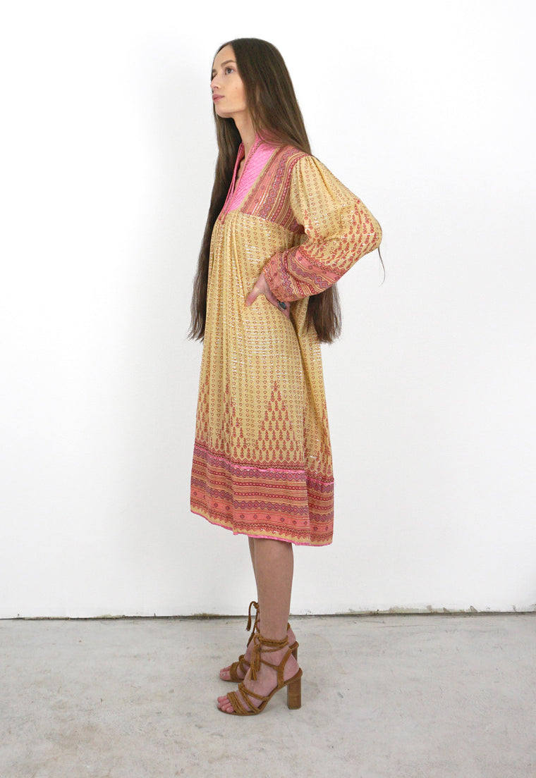1970's India Cotton, Gauze, Poet Sleeve Dress With Satin Details