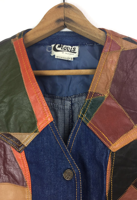 Vintage Patchwork Leather & Raw Denim Vest