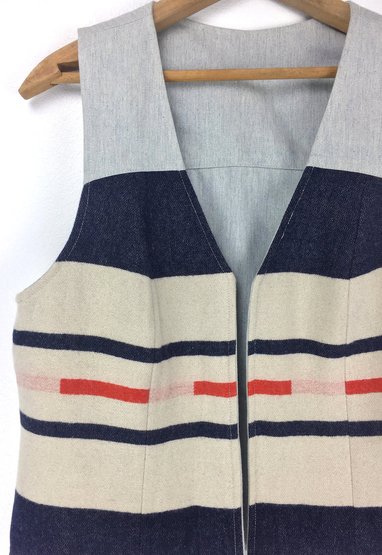 Wool Pendleton Portland Collection Reversible Light Denim Vest