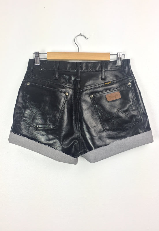 Vintage Wrangler Glossy Black Pleather Cut-off Shorts