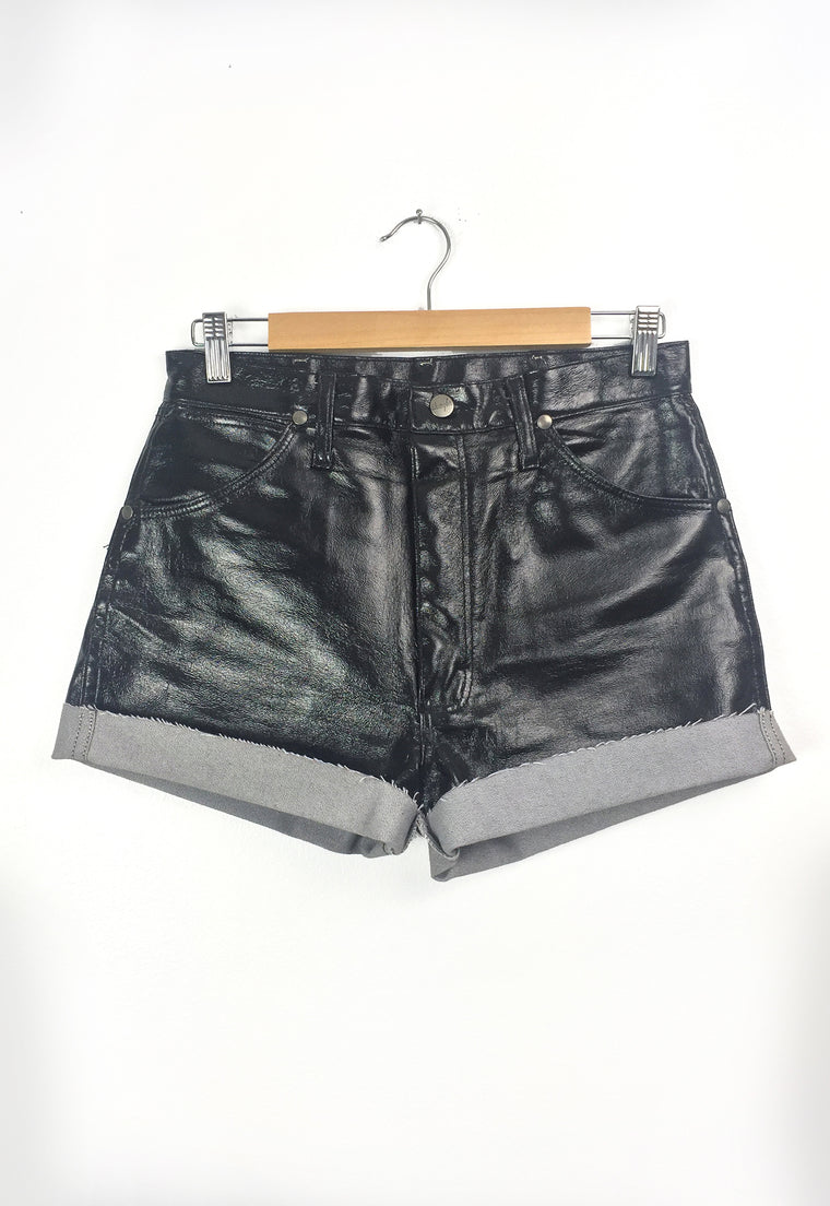 Black Ultra High Waist Liquid Leather Wrangler Cutoff Shorts