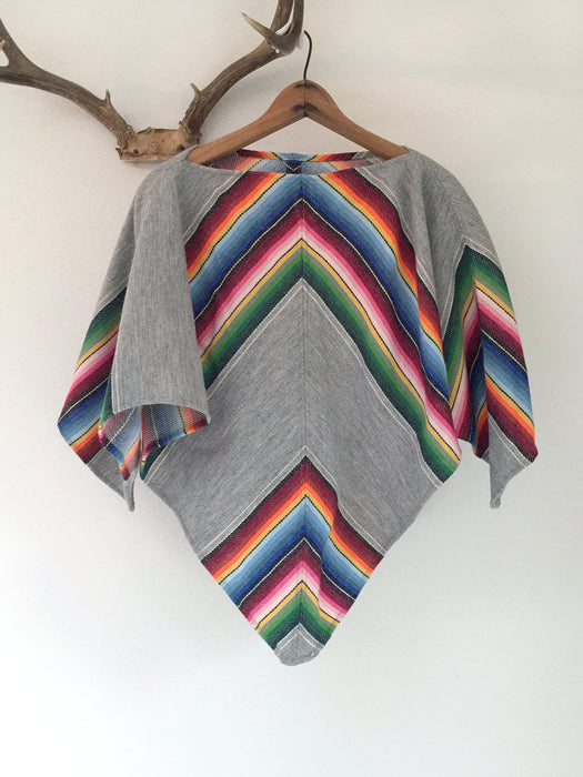 Handmade Vintage Mexican Blanket Poncho
