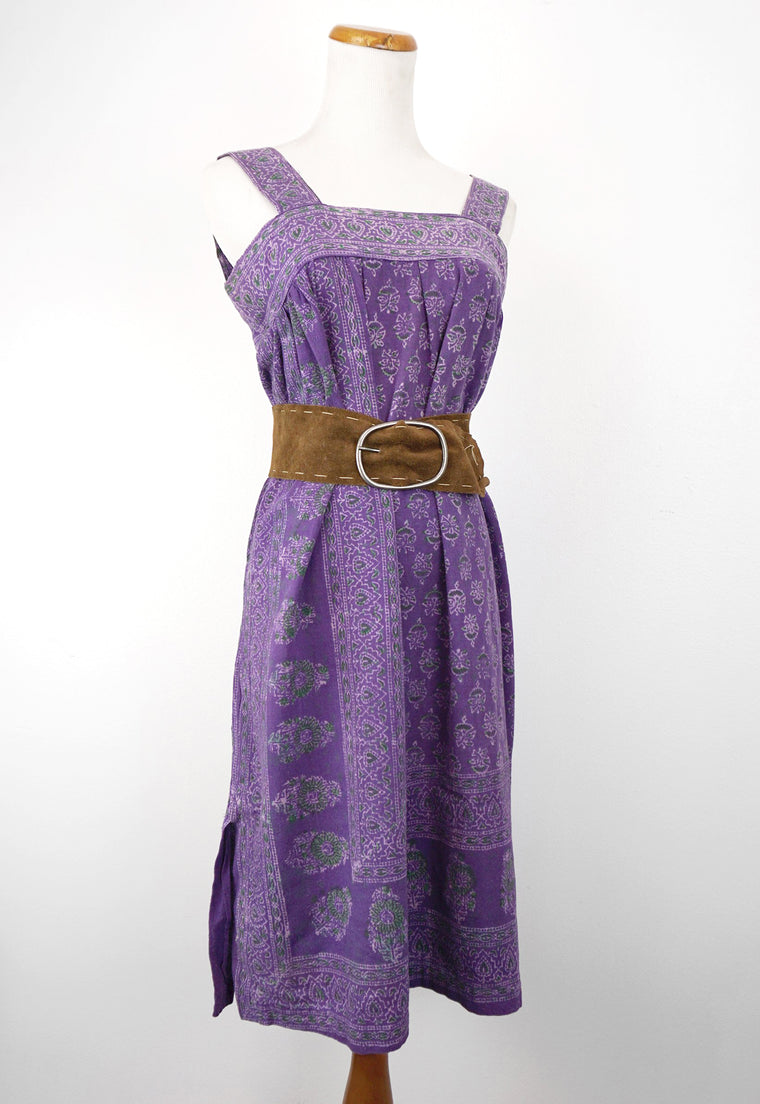 Vintage 1970's Handmade Purple Indian Cotton Sack Dress
