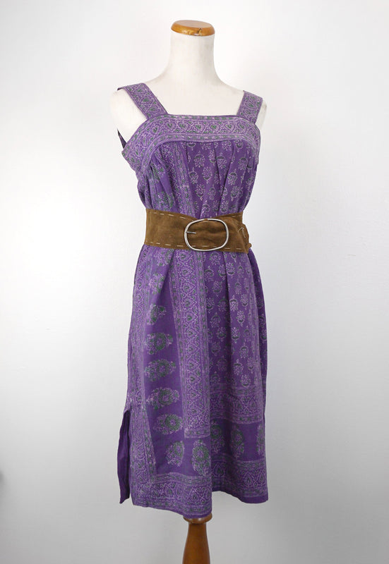 1970s purple batik india cotton handmade bohemian dress