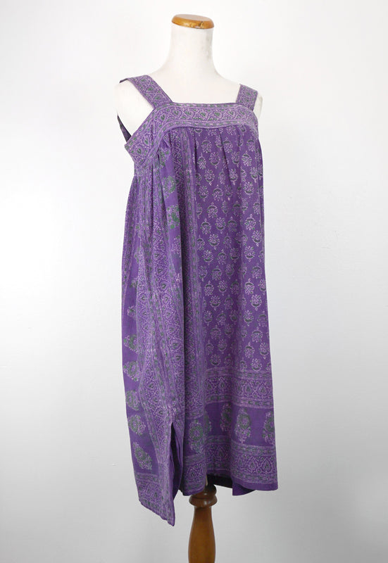 Idylwild 1970s purple batik indian cotton handmade bohemian dress