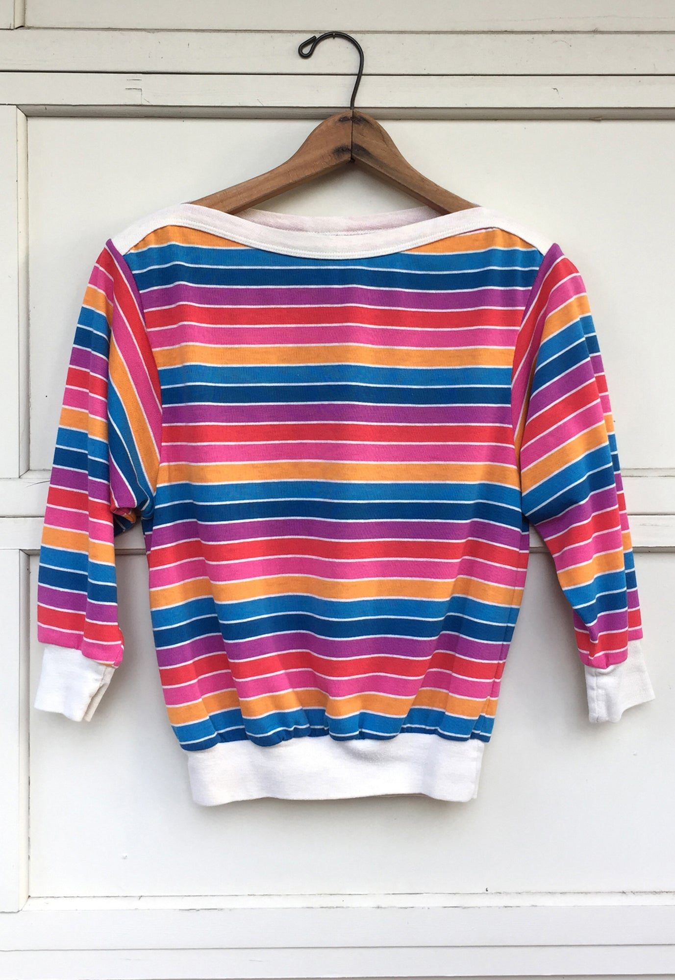 5657b9ed06 80's Rainbow Striped, Boat Neck Tee – Idylwild Woods