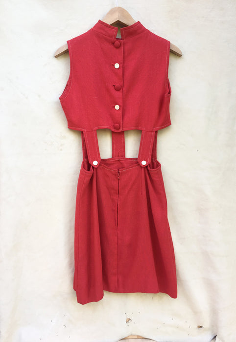 Vintage Red Cutout 1960's Mod Mini Dress