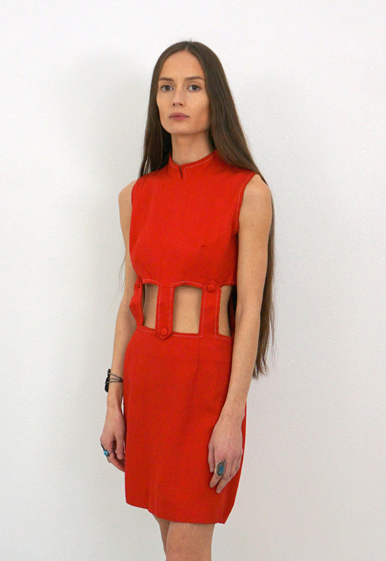 Vintage Red Cutout 60's Mod Mini Dress
