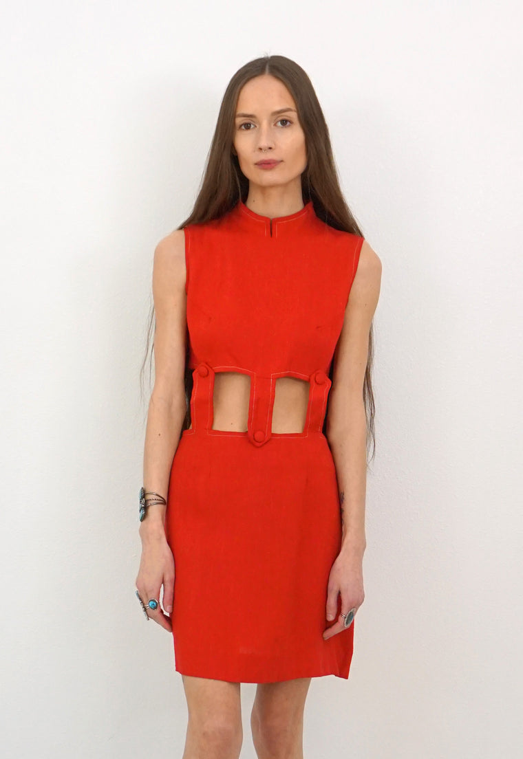 Vintage 1960's Red Cutout Mini Dress