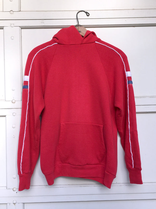 Women's 1970's Red Hooded Sweatshirt