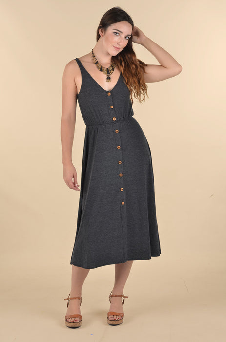 Wooden Buttons Midi Dress - Charcoal