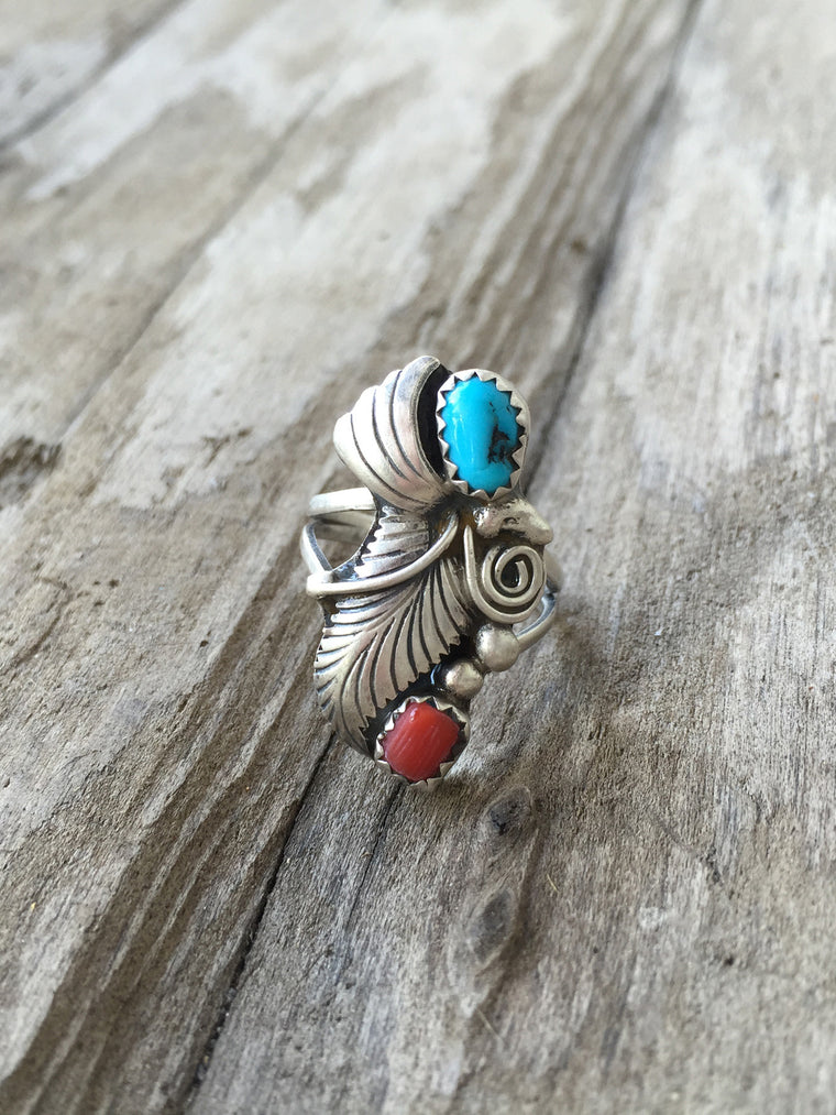 'Ronstadt' Native American Turquoise and Coral Ring