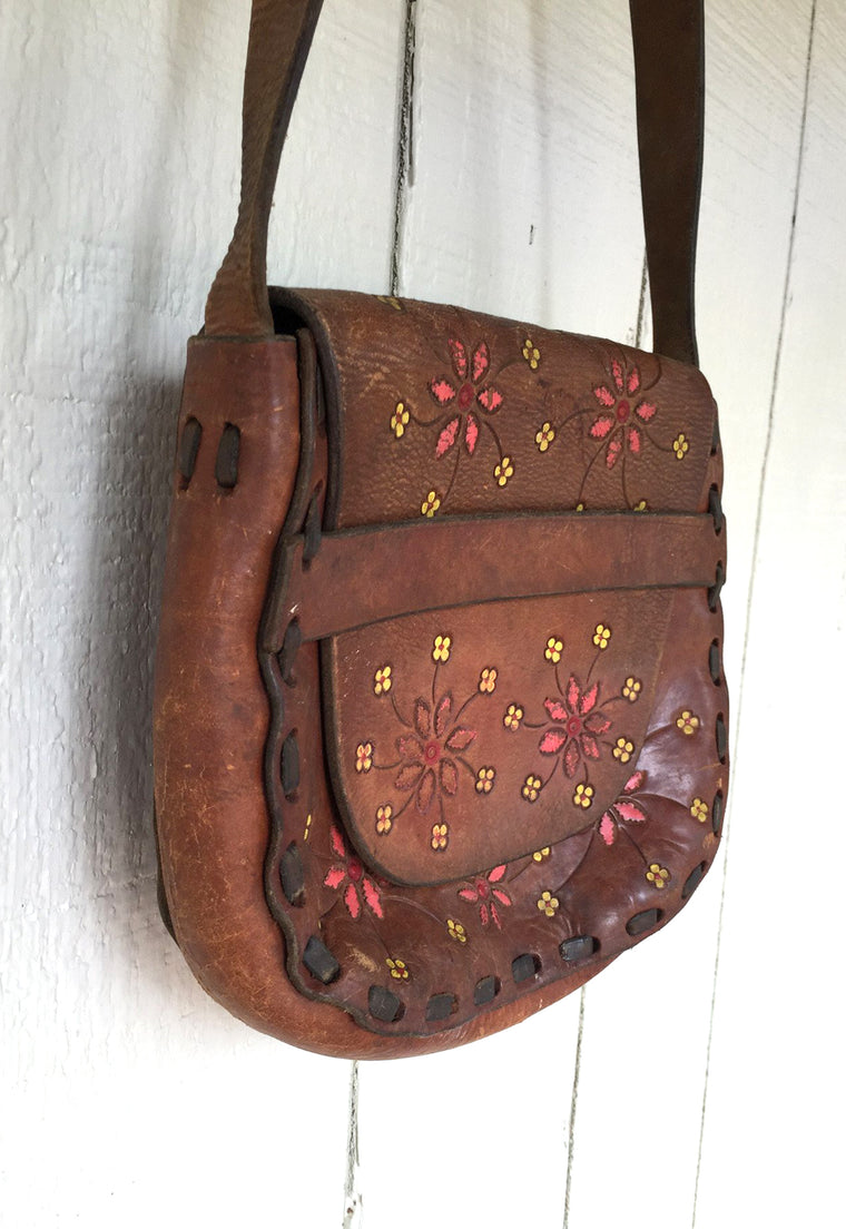 70's hand painted hand tooled leather saddle bag