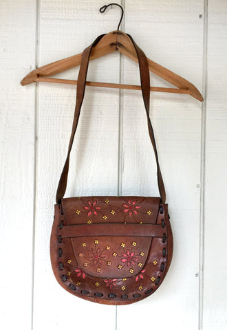 1970's Hand Tooled, Hand Painted Saddle Bag