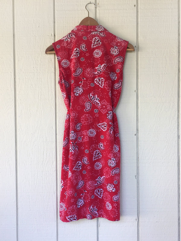 Vintage Red Bandana Flannel Shirtdress