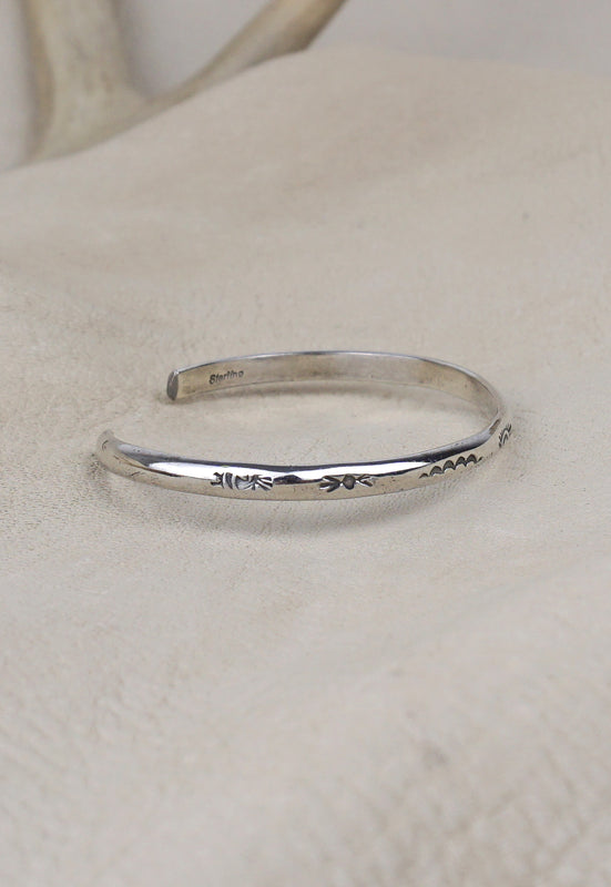 Simple Minimalist Sterling Silver Stamped Stackable Vintage Cuff Bracelet