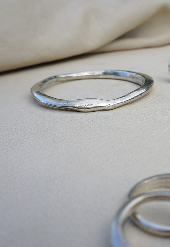 Sand Cast Bangle - Solid Sterling Silver